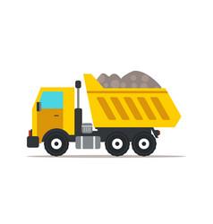 Dump truck flat vector