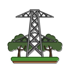 electric tower surrounded by trees icon image vector image