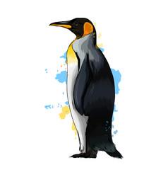 Emperor penguin from a splash watercolor vector