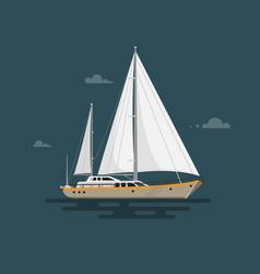 flat yacht vector image