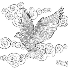 Flying dove in zentangle style vector image
