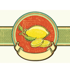 Fresh lemons vintage fruits on old background vector image