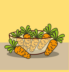 glass bowl with fresh carrots vector image