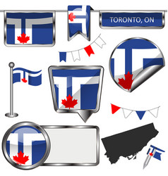 Glossy icons with flag of toronto ontario vector