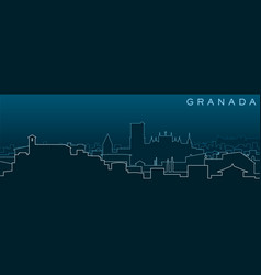 Granada multiple lines skyline and landmarks vector
