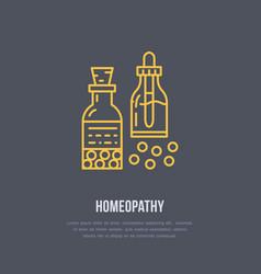 Homeopathy line icon logo for alternative vector