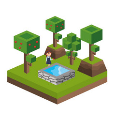 isometric park activity cartoon vector image