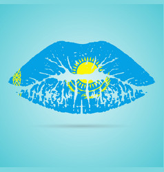 Kazakhstan flag lipstick on the lips isolated on a vector