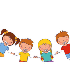 kids holding hands white background vector image