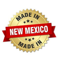 Made in new mexico gold badge with red ribbon vector