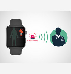 medical application in smart watch sos application vector image
