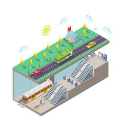 metro station flat isometric vector image