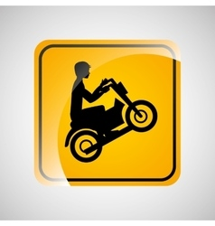 Motorcycle rider sign sport extreme design vector
