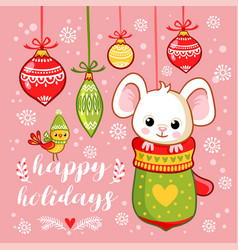 new year card with a cute little mouse vector image