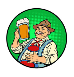 oktoberfest bavarian man with beer vector image