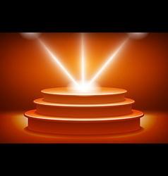 Orange illuminated stage podium for award ceremony vector