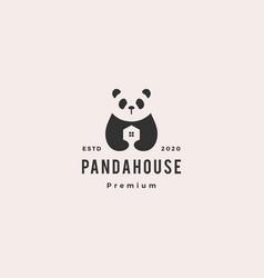 panda house logo hipster vintage retro icon vector image