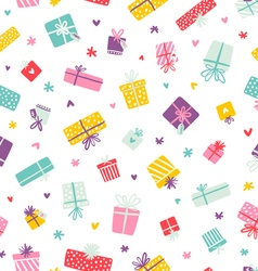 Party presents colorful pattern with hearts and vector image