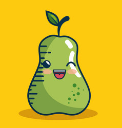 Pear fresh fruit character handmade drawn vector