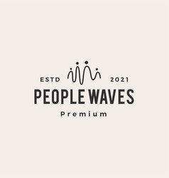 people wave impulse hipster vintage logo icon vector image