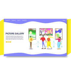 Picture gallery website landing page design vector