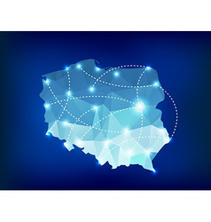 Poland country map polygonal with spot lights plac vector