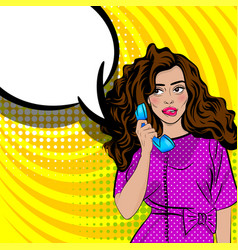 Pop art cartoon woman talk hold hand retro phone vector