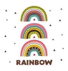 poster with wild tribal rainbows vector image