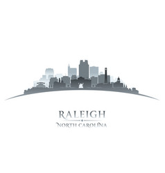 Raleigh north carolina city silhouette white vector