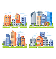 real estate buildings city houses cityscape town vector image