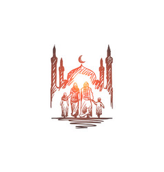 religion family muslim arabic islam mosque vector image