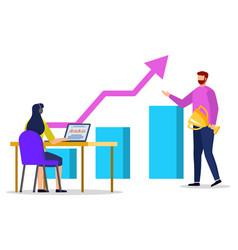 Rising graph report people educating vector