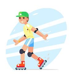roller boy flat design character vector image