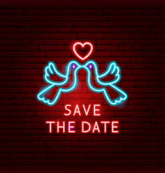 save date doves neon label vector image