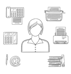 Secretary or assistant profession sketch icons vector