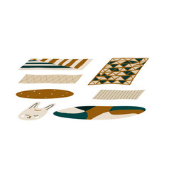 Set carpets various shapes colors floor covering vector