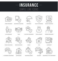 set line icons insurance vector image