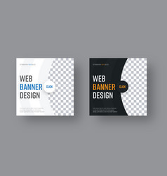 set of square black and white web banners with vector image