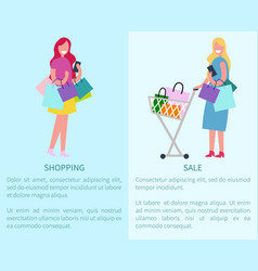 shopping and sale set of two vector image