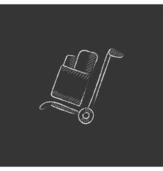 Shopping handling trolley drawn in chalk icon vector