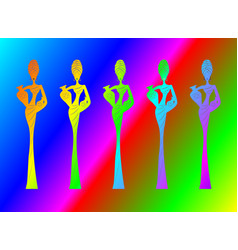 Silhouette afro women colorful african woman vector