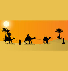 Silhouette caravan mit people and camels vector