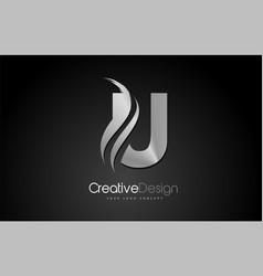 Silver metal u letter logo design brush paint vector