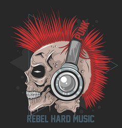 Skull music headphone punk mohawk hair artw vector