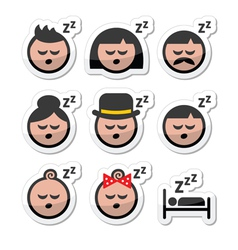 Sleeping dreaming people faces icons set vector