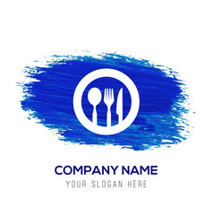 spoon and fork icon - blue watercolor background vector image