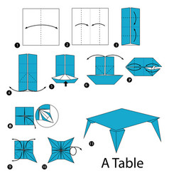 Step instructions how to make origami a table vector