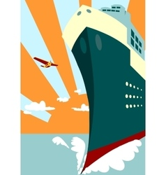 Sun rays background and passenger ship vector