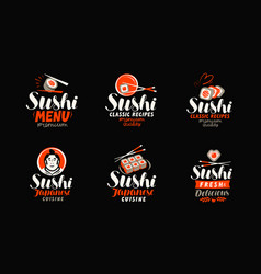 Sushi sashimi japanese cuisine logo or label vector