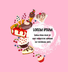 sweet desserts on pink place for text vector image